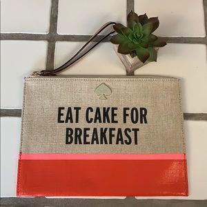 Kate spade Eat cake for breakfast canvas wristlet